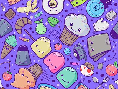 Kawaii Food Pattern design photoshop kawaii pattern illustration