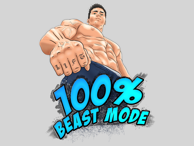 100% Beast Mode vector anime comic typography tshirt workout beast mode illustration