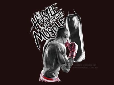 Hustle For The Muscle sexy no shirt shirtless rough painting ufc boxer boxing muscle illustration digital