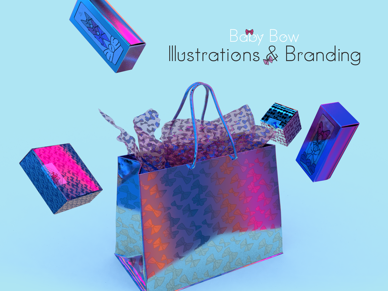Baby Bow Illustrations Project ux icon vector branding design branding design photoshop digital illustrator holographic packaging holographic illustration design illustrative illustrations illustration