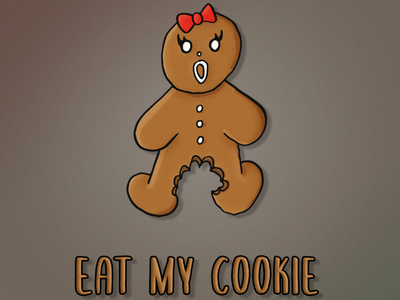 Eat My Cookie abstract vector gingerbread humor hilarious cartoon funny illustration xmas christmas gingerbread woman