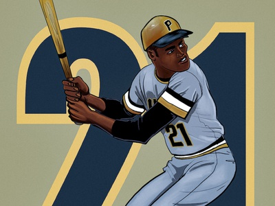 RobertoClemente21 copy art illustration pirates athlete baseball