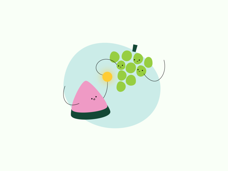 teamwork - kiwi design studio grapes watermelon teamwork illustration design