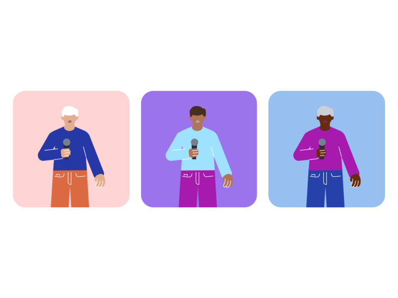 people speaking into a mic person people microphone illustration