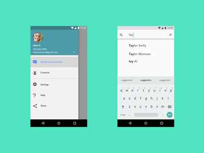 Android Navigation Drawer And Expandable Search android ui ux design app