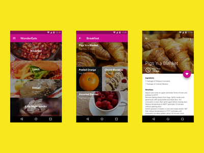 Android Recipe Discovery App design android ux ui app