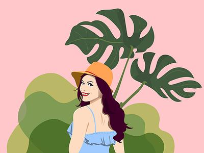 Summer still here summer leaf plant girl art portrait design illustration