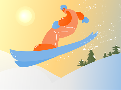 Skiing flat illustration cool chill character sports flat design man vacation snow ski vector illustration art design