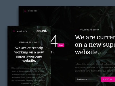 Count Free HTML Website Template coming soon countdown counter ux ui landing page onepage template website html free