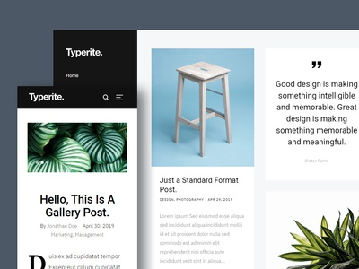 Typerite - Clean & Modern Free HTML Blog Site Template clean responsive design masonry ux website freebie blog ui html template free