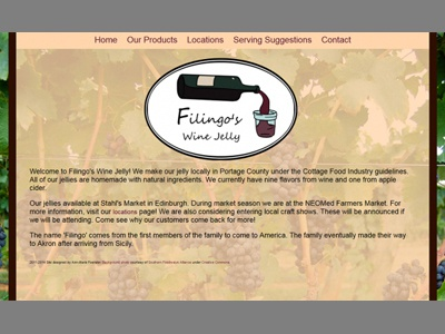 Filingo's Wine Jelly Home Page business small branding logo css3 css html design web