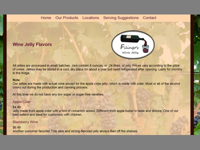 Filingo's Wine Jelly Products Page business small branding logo css3 css html design web