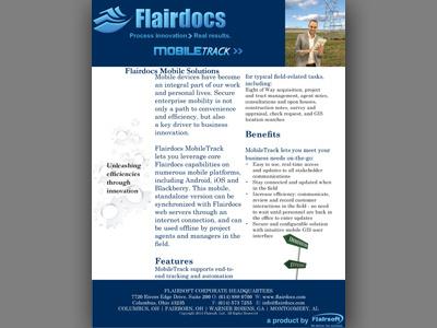 Flairdocs/Flairsoft MobileTrack Brochure event item product showcase software flyers flyer brochures brochure design print graphic