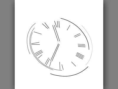 Abstract Clock Line 1 & 4 Combined composition illustration design minimal clock abstract line