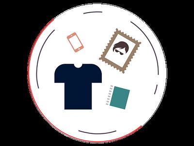 Many Items Badge badge web image minimal abstract line design