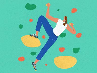 Bouldering athlete female climbing scarpa sport hong kong illustrator vector texture character design illustration