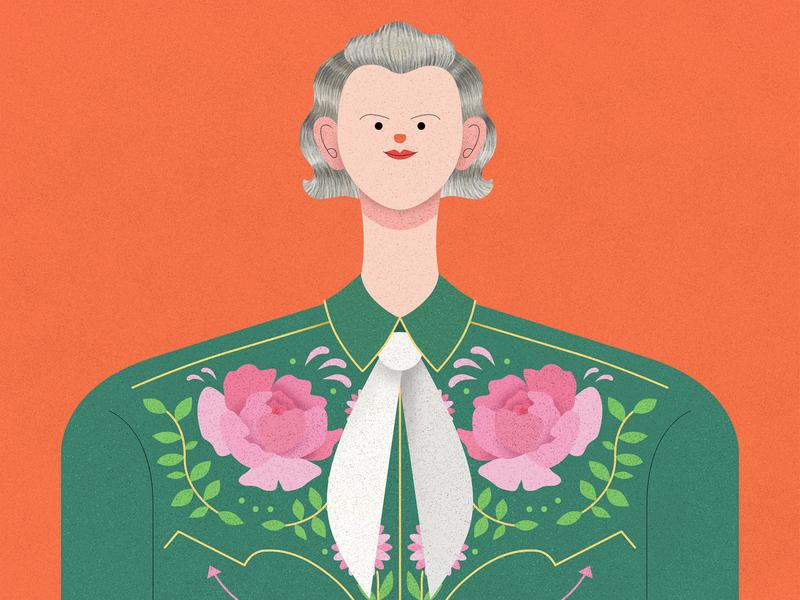 Temple Grandin pattern shirts cowboy movie temple affinity designer illustrator vector texture character design illustration