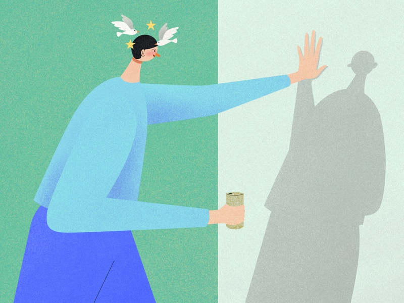 Are you alone? shadow drunk alchohol single alone cheers beer hong kong illustrator vector texture affinity designer character design illustration