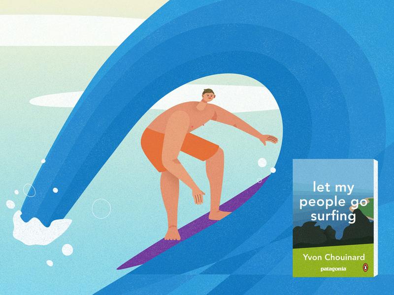 Let My People Go Surfing california ventura summer wave sport man penguin patagonia book surfing illustrator vector texture character design illustration