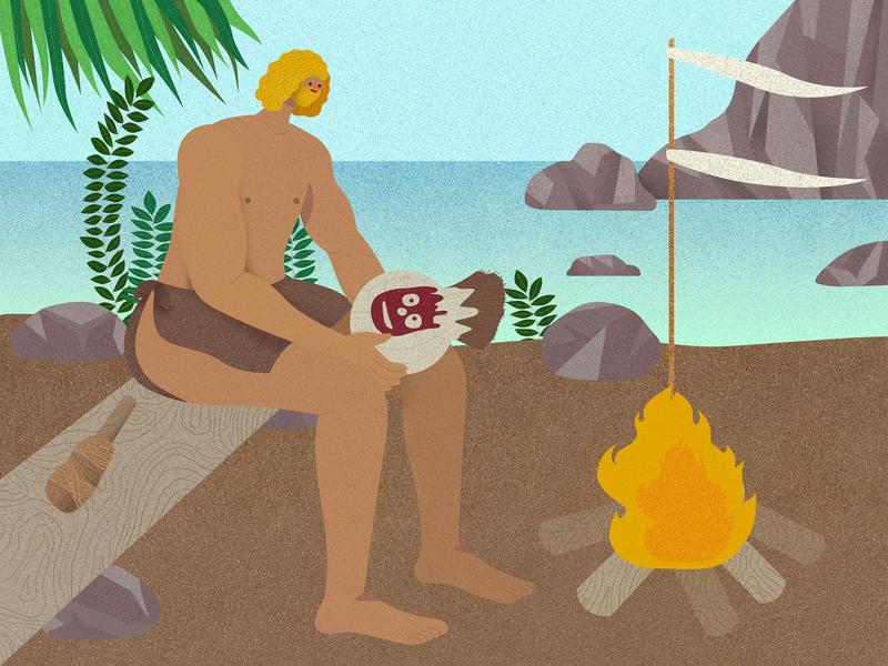 Cast Away fedex film movie chuck noland island volleyball wilson tom hanks hong kong illustrator vector texture character design illustration