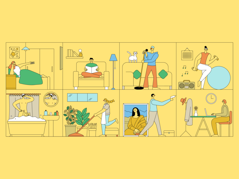 Stay Home Stay Safe activity exercise aerobic dancing drawing working singing cleaning bathing reading tv community building house home hong kong illustrator vector character design illustration
