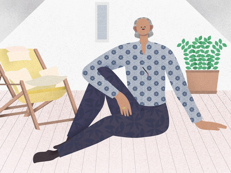 Ip Man tv show viutv belgium pattern flower dream life friend old man affinity designer hong kong illustrator texture vector illustration character design