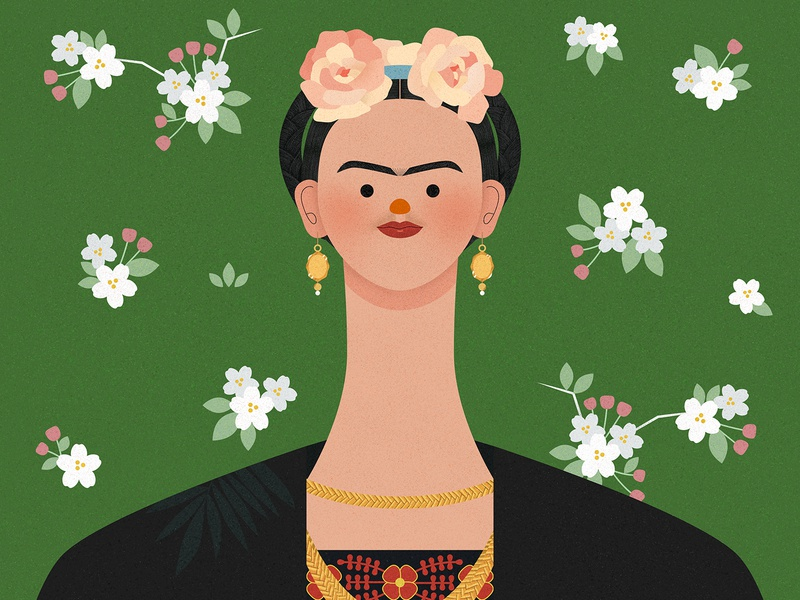 Frida Kahlo self portrait portrait mexican flower female painter artist mexico illustrator vector texture character design illustration