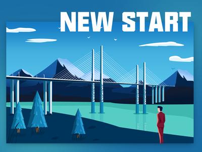 New Start scenery bridge mountian blue illustration