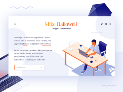 Isometric illustration personal page blog personal page ui webdesign illustrative landing isometric design landing page