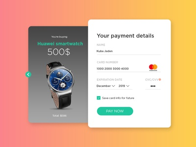 Credit card Checkout UI payment form smartwatch credit card form credit card checkout ui design