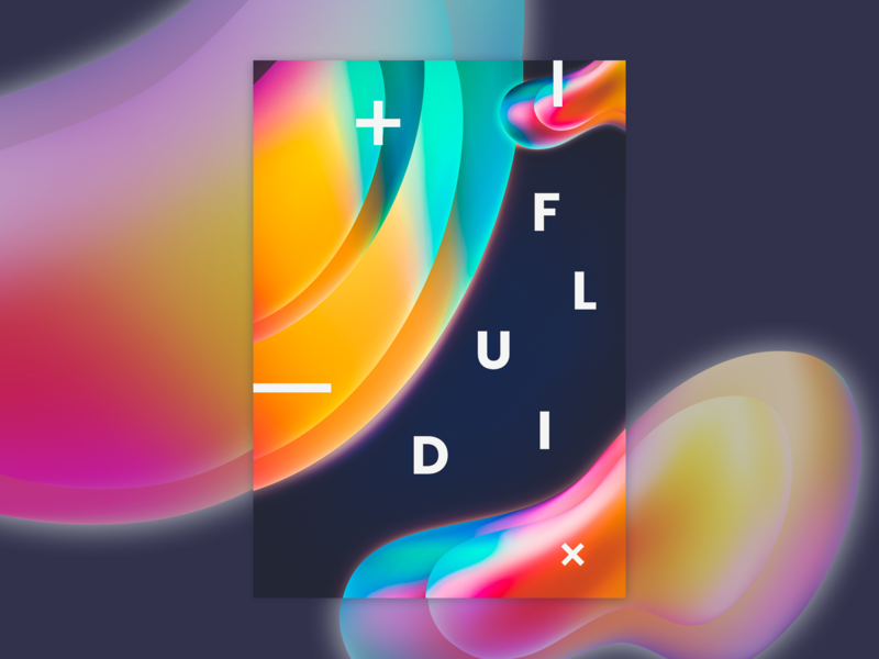 Fluid poster colors fluid typography vector illustration design