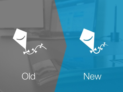 Refining Logomark rebrand logo kite