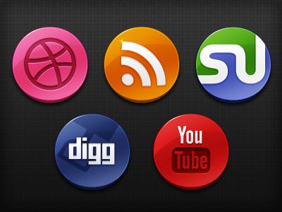 Glossy Social Media Icons icon dribbble rss stumbleupon digg youtube social media