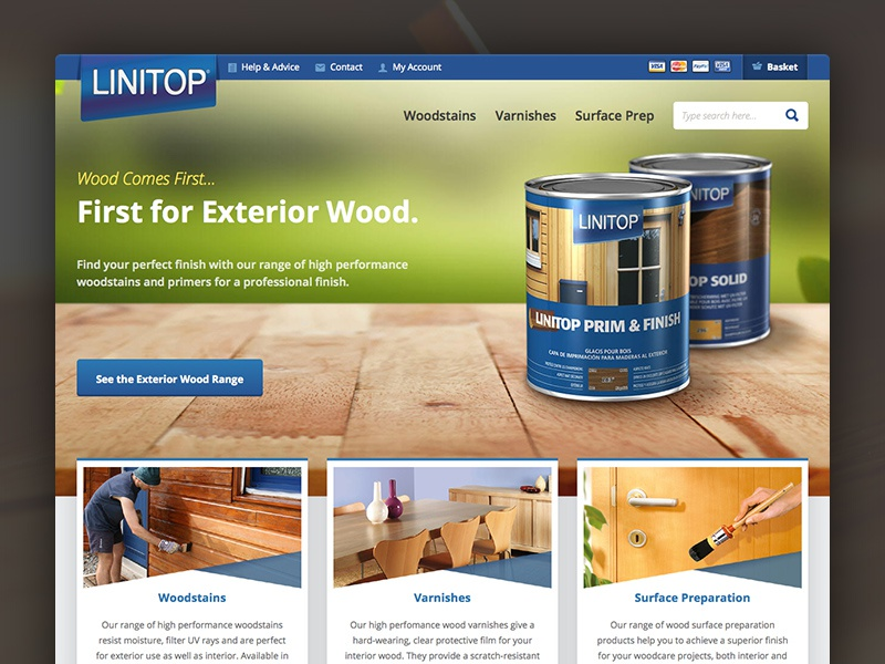 Linitop Homepage wood varnishes stains woodcare wordpress woocommerce ecommerce