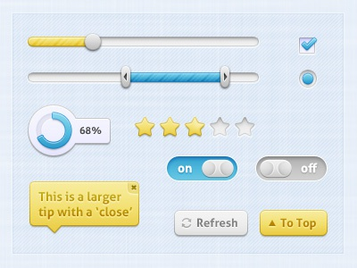 Soft Touch - UI ui interface soft blue yellow loading rating switch tooltip button checkbox