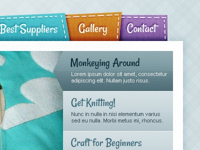 Craft Site craft stitch textures navigation website
