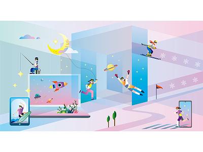 Sports meet universe internet running surfing skiing sport character desing painting illustration
