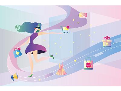 Shopping online gift girl shopping art direction painting illustration