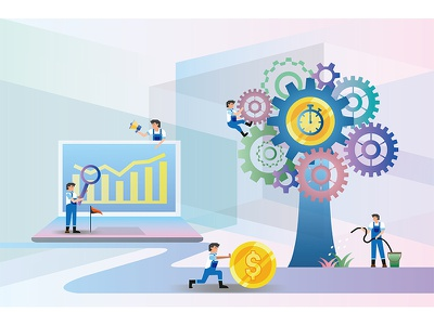 Time management time currency financial character desing art direction illustration