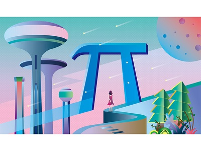 Gate of the Future meteor door architecture girl planet future scenery character desing painting illustration