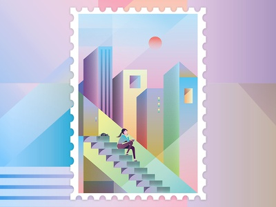Still waters run deep sunrise architecture contemplate cat cityscape girl character desing illustration