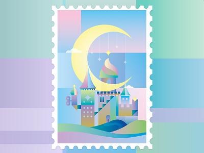 Fantasy Castle fantasy geometry moon sky starry castle illustration