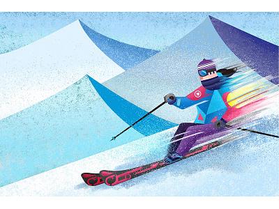 Alpine Skiing sking winter art direction character desing painting illustration