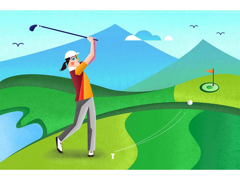 Playing Golf sport character desing painting illustration