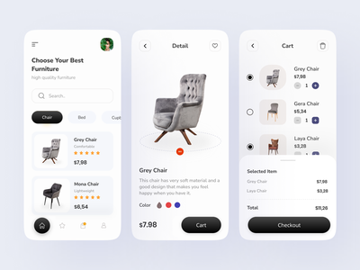 Furniture Shop App flat minimal furniture furniture app furniture store app furniture design ecommerce app ecommerce property chair app furniture website uiux ui ux clean ui online shopping design mobile app online shop