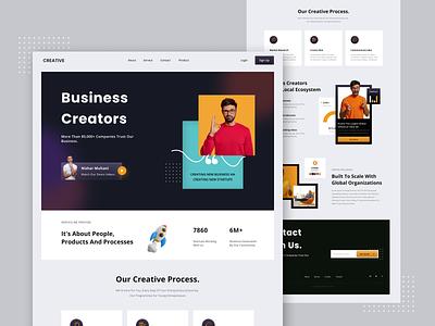 Creative Business Landing Page dark ui modern clean ui corporate illustration marketing agency social media design ux ui design uiux landing page agency marketing startup company creative business