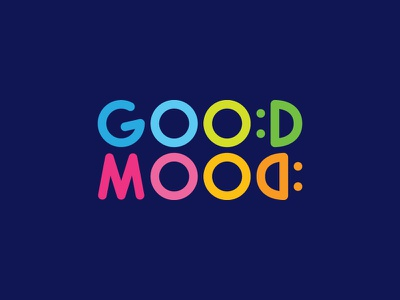 Good Mood Logo logotype fun rainbow logo inspiration logo daycare kids smile vivid vibrant colorful happy