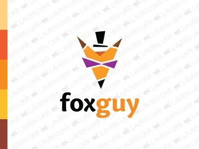 FoxGuy Logo gentleman top hat funny mascot clever smart animal fox logo fox forsale creative identity branding logo for sale logo inspiration logo design logo