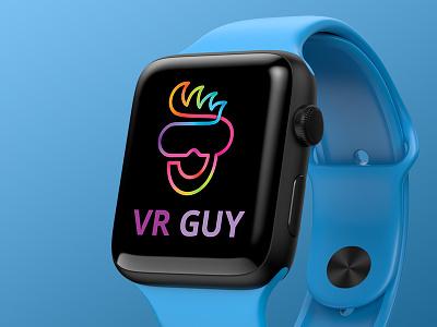 VR Guy Logo happy vibrant colorful simulation cyberspace gaming reality virtual reality virtual headset vr buy logo logo for sale forsale creative identity branding logo inspiration logo design logo