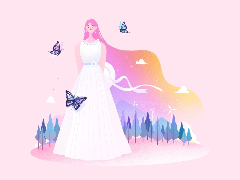 The Girls08 butterfly spring procreate character girl design illustration